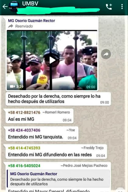 El mensaje que el MG Félix Osorio Guzmán ordenó difundir