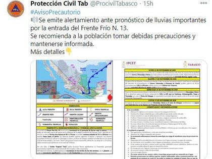 (Foto: Instituto de Protección Civil del Estado de Tabasco)