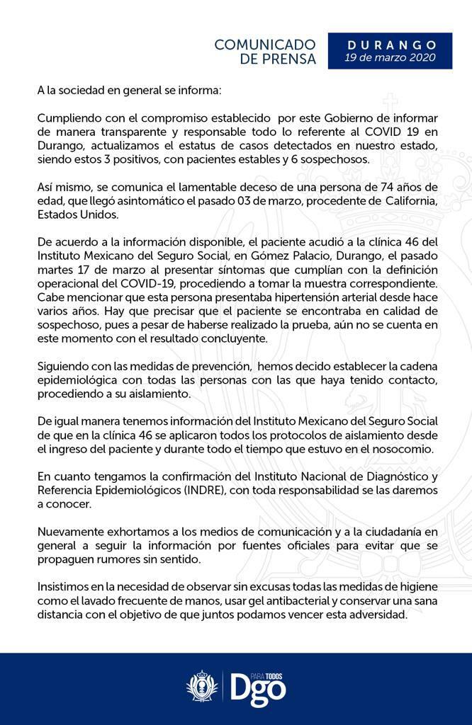 Comunicado de prensa Durango COVID-19 (Foto: Gobierno de Durango)
