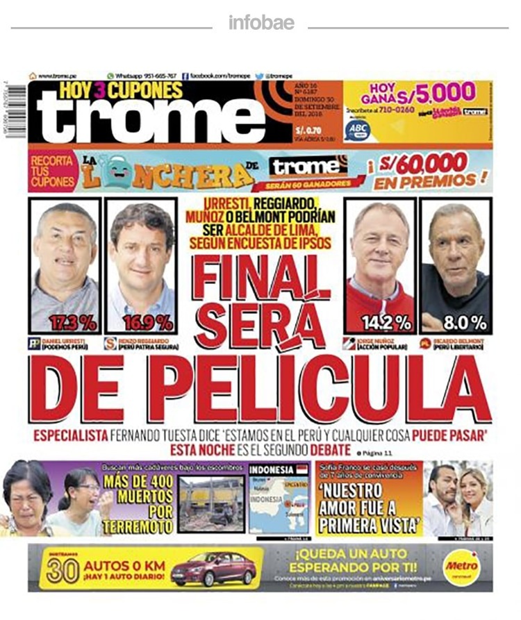 Trome Perú Lunes 1 De Octubre De 2018 Infobae