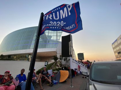 Supporters of Trump are already camping outside the place where he held his first rally in more than three months (Reuters)