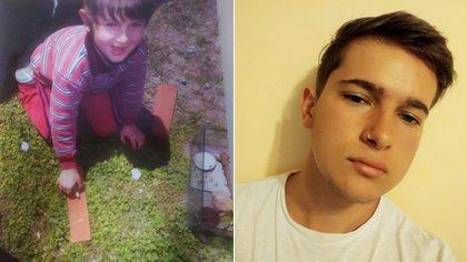 Antes y después. A la izquierda, Guido con seis años y la salamandra en la mano; a la derecha, una foto actual, a sus 20
