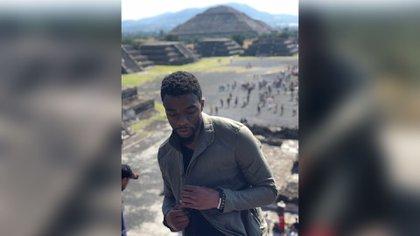 Chadwick Boseman visitó la zona arqueológica de Teotihuacán en 2018 (Foto: Twitter @chadwickboseman)