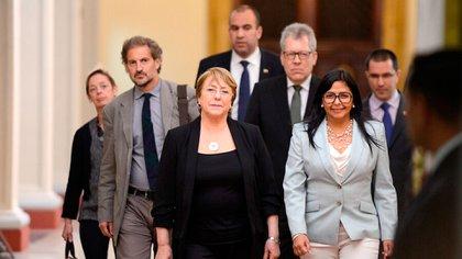 Michelle Bachelet en su visita a Venezuela