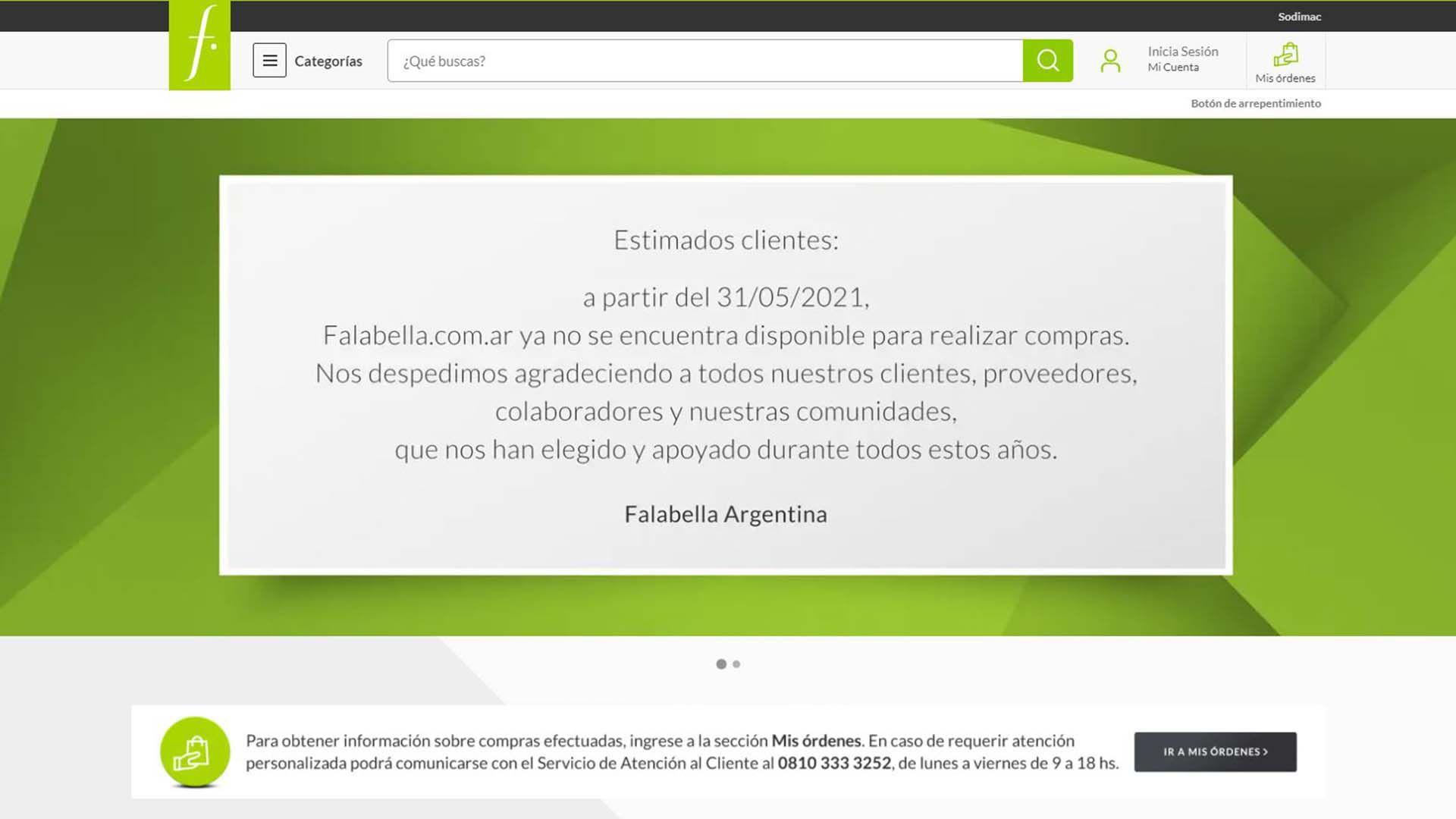 Falabella argentina - se despide en la web