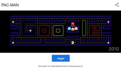 Al escribir Pa-Man en el buscador se puede jugar a este mítico juego.