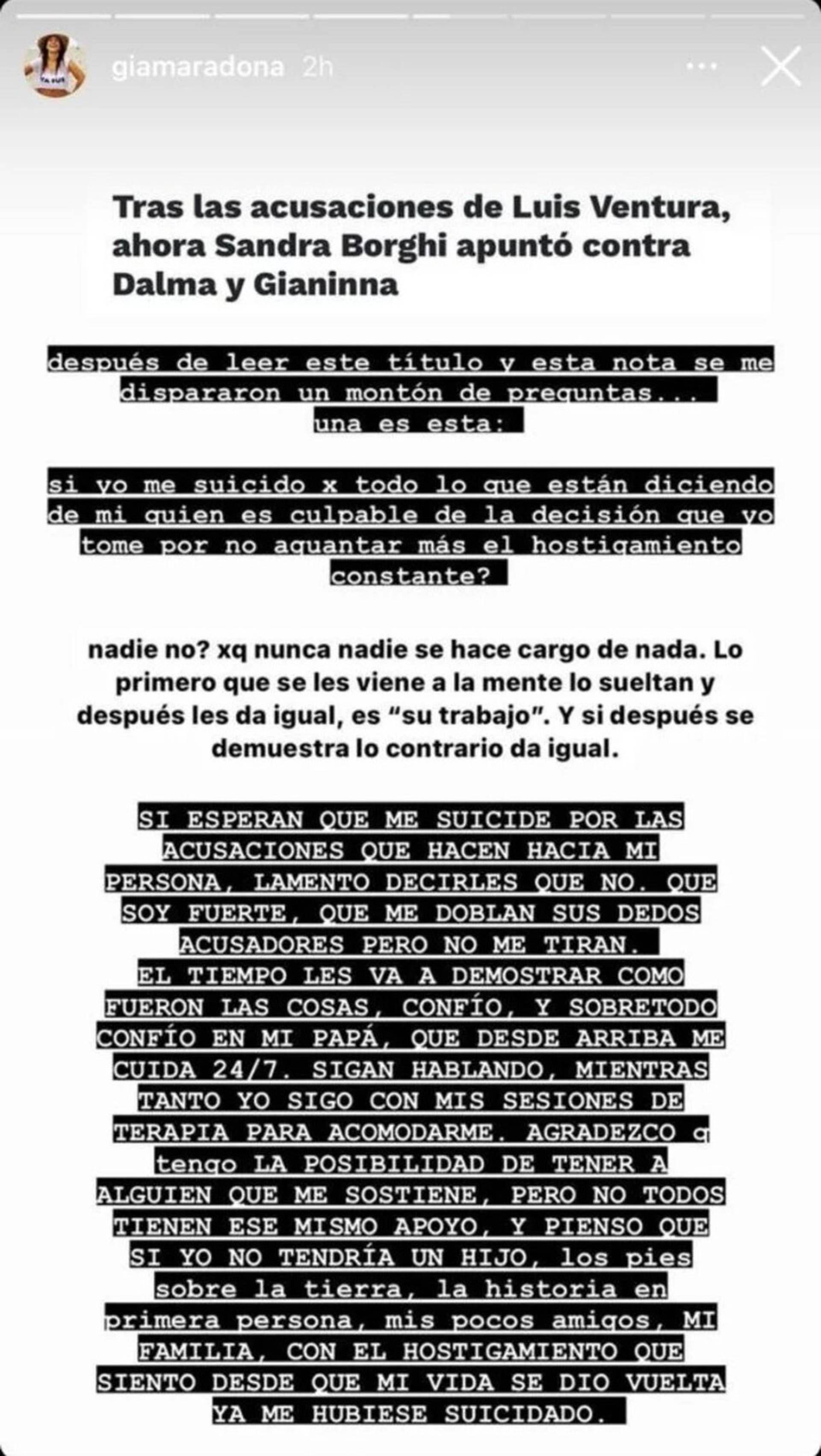 El posteo de Gianinna Maradona