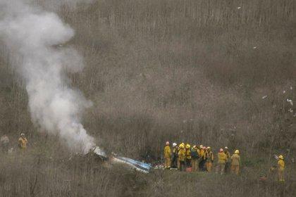 Los restos del helicóptero donde viajaban Kobe y Gianna Bryant (REUTERS/Gene Blevins)