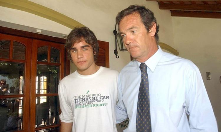 Marcelo y Facundo Macarrón en la casa de Villa Golf en Córdoba donde Nora Dalmasso fue asesinada (Télam)