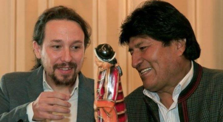 Pablo Iglesias y Evo Morales