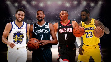 LeBron James (Los Angeles Lakers), Stephen Curry (Golden State), Kevin Durant (Brooklyn Nets) y Russell Westbrook (Hosuton Rockets) son algunos de los que más dinero ganan