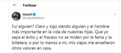 El mensaje de Matías Defederico en respuesta a un tuit de Ángel de Brito en donde replicaba las palabras de Cinthia Fernández
