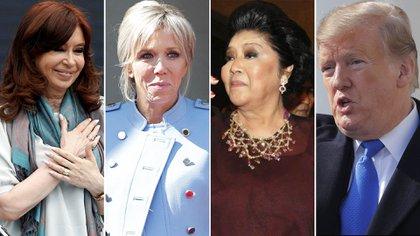 Cristina Kirchner, Brigitte Macron, Imelda Marcos y Donald Trump