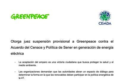 En la batalla legal por permitir la llegada de energías limpias al mercado eléctrico nacional también se han involucrado grupos como Greenpeace (Foto: Greenpeace México)