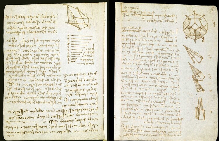 Bocetos de Leonardo Da Vinci. Un libro con dibujos y textos manuscritos similares, el Codex Leicester, se subastó por más de 30 millones de dólares