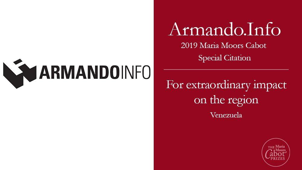El portal de periodismo de investigación Armando.Info obtuvo una mención especial. Cuenta con seis reporteros en Venezuela