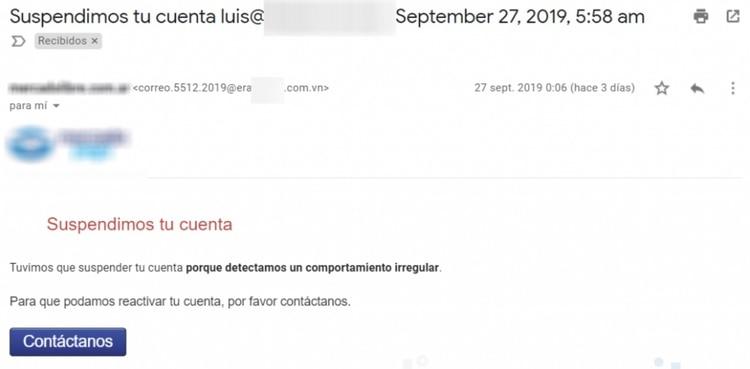 El usuario recibe un correo con la estética y logos de una importante plataforma de pago pero se trata de un engaño, como se puede ver al analizar el domino de donde se envío el mail (We Live Security).