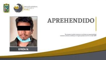 Tras asesinar a Susana Efrén huyó a Chiapas donde fue detenido y regresado a Puebla Foto: (Fiscalía de Puebla)