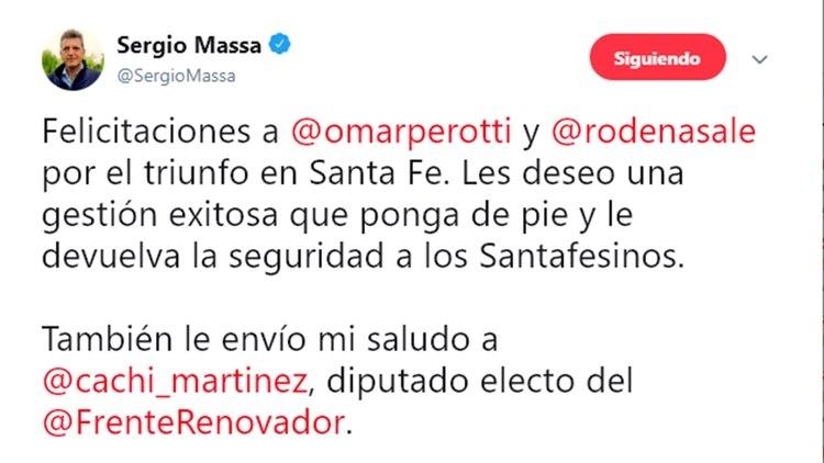 Tuit de Sergio Massa felicitando a Perotti por su triunfo en Santa Fe