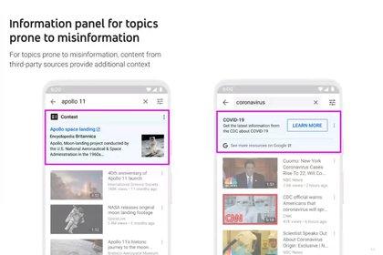 Panel de información en YouTube