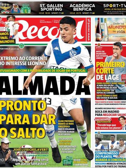 La tapa de Record de este sábado sobre la trama entre el Sporting de Lisboa y el Manchester City para comprar la ficha de Almada