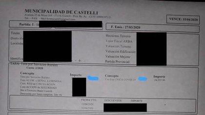"""Según un productor rural, el municipio está enviando este tipo de facturación en la que se detalla la """"Contribución ÚNICA COVID-19"""". En este caso con un importe que ronda los 25 mil pesos"""