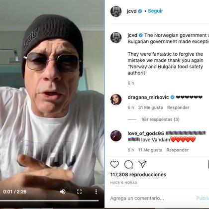 La publicación en Instagram donde el actor agradeció a Bulgaria y Noruega por haber salvado la vida de la chihuahua