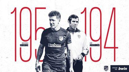 La placa con la que el Atlético Madrid anunció la marca que alcanzó el Cholo