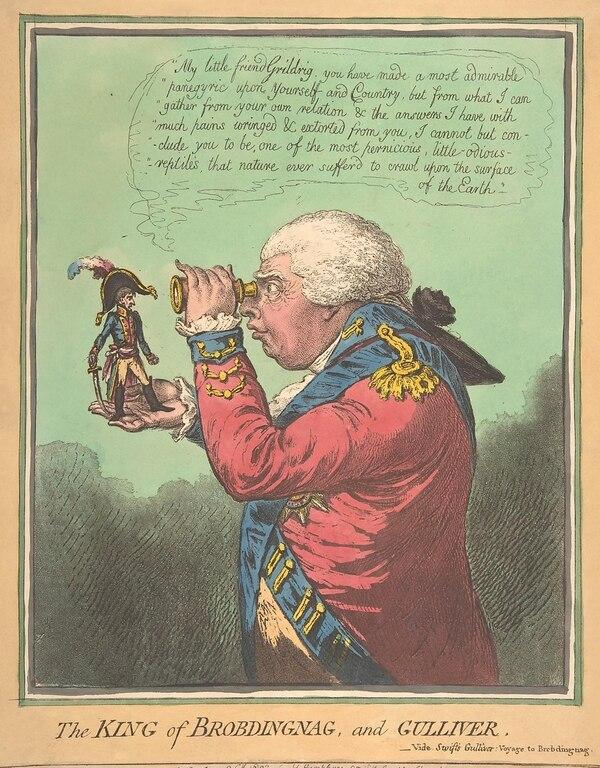 """El Rey de Brobdingnag, en """"Los viajes de Gulliver"""", de Jonathan Swift"""