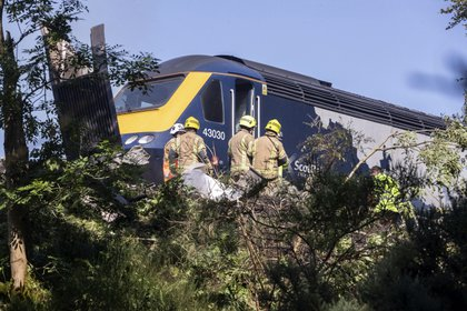 Los servicios de emergencia junto al tren accidentado. (Derek Ironside/Newsline-media via AP)