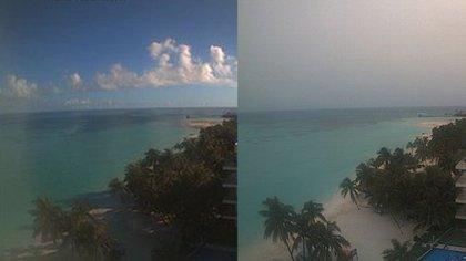 A la izquierda, una imagen tomada a las 08:00 horas del 16 de junio desde el hotel Ixchel Beach, en Isla Mujeres; a la derecha, una imagen captada en el mismo lugar y a la misma hora, el 24 de junio (Foto: WebcamsdeMexico)