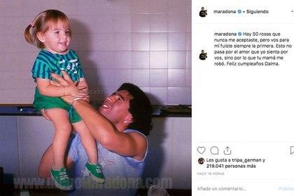 El polémico saludo de Diego a Dalma por su cumpleaños