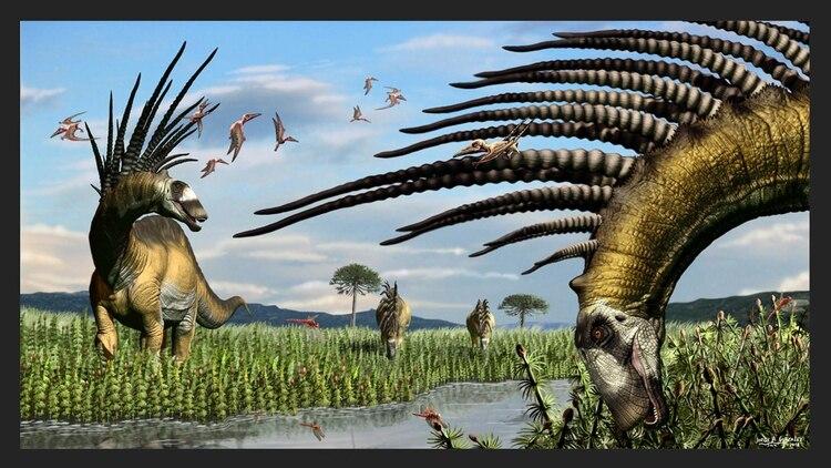 Un grupo de Bajadasaurus a la vera de un curso de agua. Ilustración: Jorge A. González