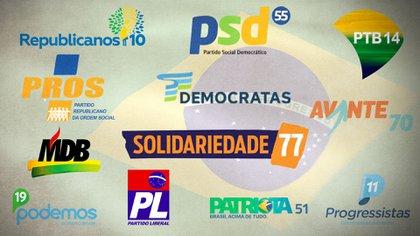 Los logos de algunos de los partidos asociados al Centrão en Brasil