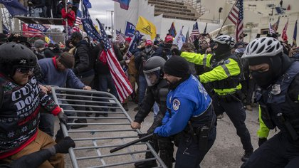 Demonstrators and U.S. Capitol police clash on Jan. 6.