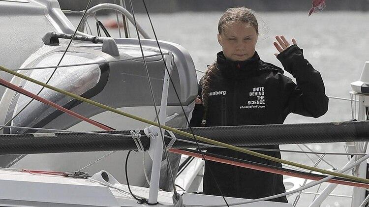 Greta al comienzo de su aventura por América (AP)