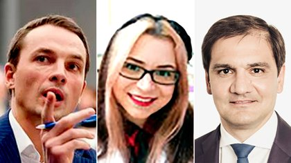 Alexander Zhuravlev, vicepresidente del Fondo; Nataliia Karolina Miranda Chikurova, técnica del Instituto de Investigación de Proteínas, y Tagir Sitdekov, director ejecutivo del Fondo