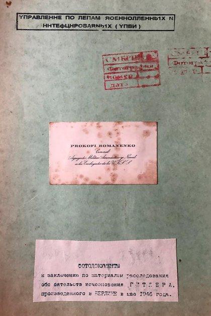 Tarjeta del coronel Prokofi Romanenko en una de las páginas del informe