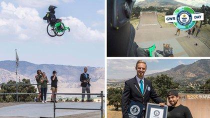 El salto de Aaron Fotheringham en silla de ruedas desde una rampa.