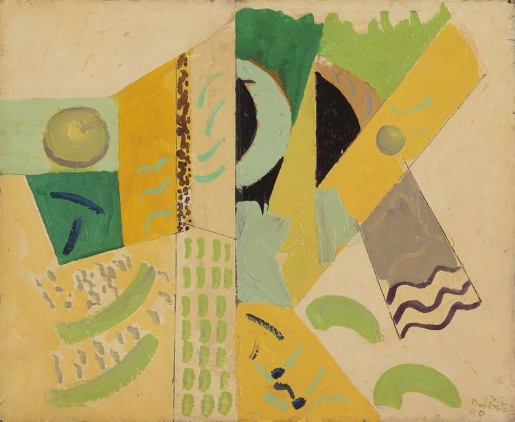 Del Prete, Juan. Composición arlequinada, 1980. Óleo sobre cartón, 45, 5 x 55 cm