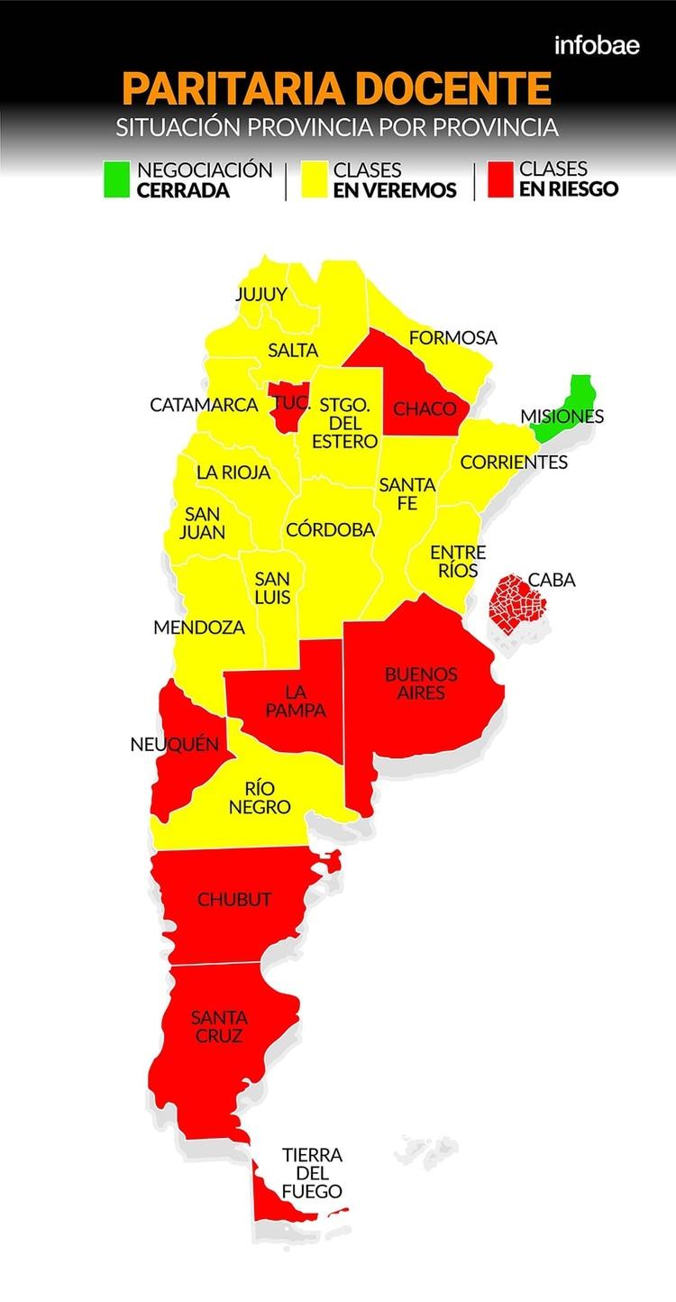 Infobae hizo un relevamiento de la situación que atraviesa cada provincia  en las paritarias entre sus gobiernos y gremios docentes  7d093b59f25