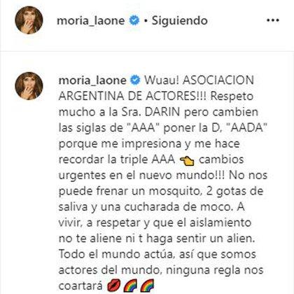 El mensaje de Moria contra Alejandra Darín (Foto: Instagram)