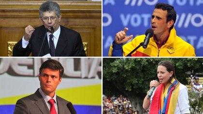 Henry Ramos Allup, Henrique Capriles, Leopoldo López y María Corina Machado, líderes de la oposición al régimen chavista en Venezuela