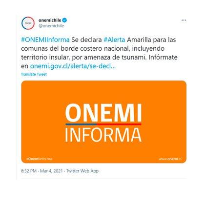El reporte de la ONEMI sobre la Alerta Amarilla