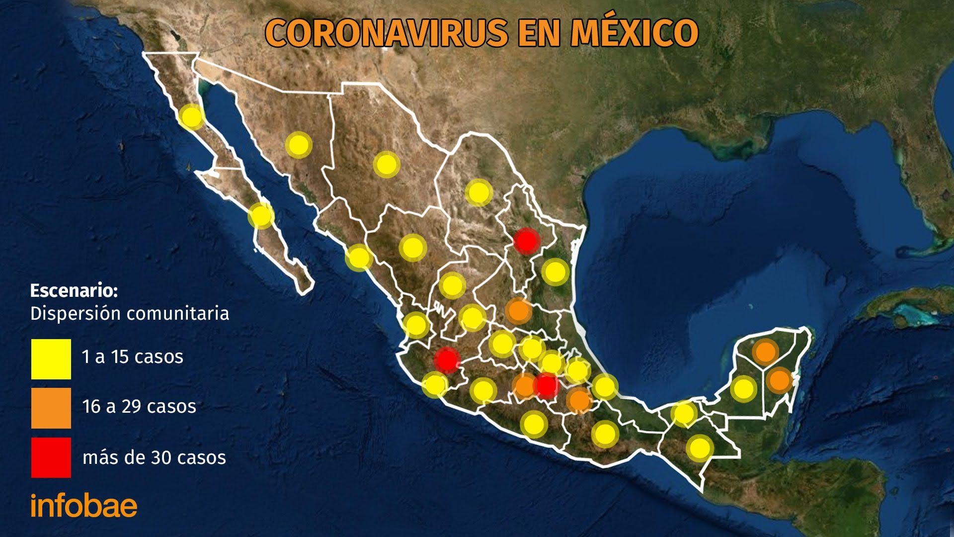 Hasta el momento son 405 casos de contagio en el país (Mapa: Infobae)