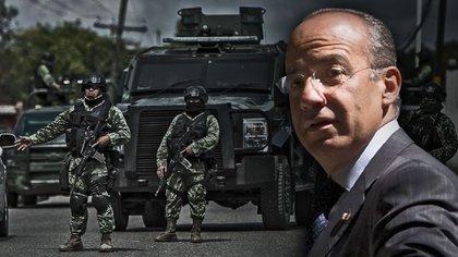 La guerra contra el narcotráfico es el principal estigma del sexenio de Calderón Hinojosa, pues decenas de miles de muertos (Fotoarte: Jovani Pérez Silva)