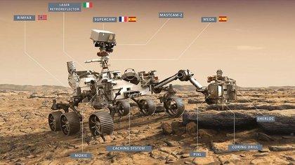 Ilustración del rover Perseverance de la NASA con los instrumentos a bordo. EFE/NASA/Centro de Astrobiología (CAB)