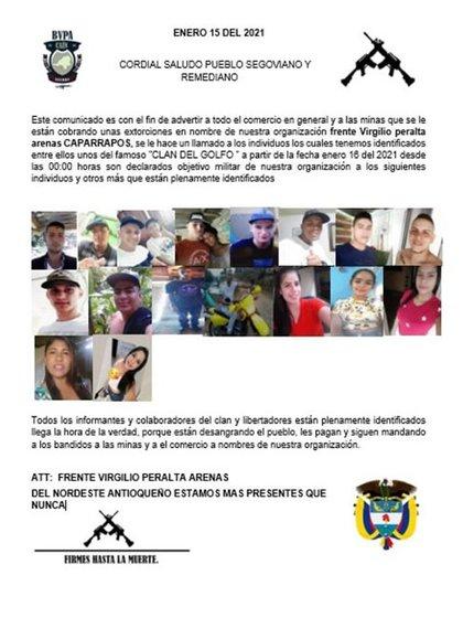 Autoridades verifican panfleto que amenaza a jóvenes de Remedios y Segovia en Antioquia.