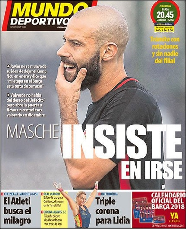Mundo Deportivo se hizo eco de la disputa entre Javier Mascherano y Barcelona