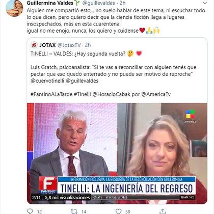 El mensaje de Guillermina en Twitter